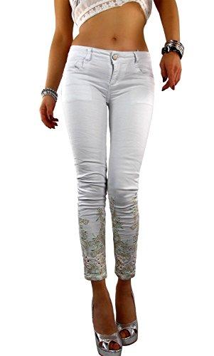 Mozzaar Damen Hose mit Stickerei in weiß, Größe:L-Maße beachten, Farbe:Weiß (Skinny Girls Look Good In Clothes)