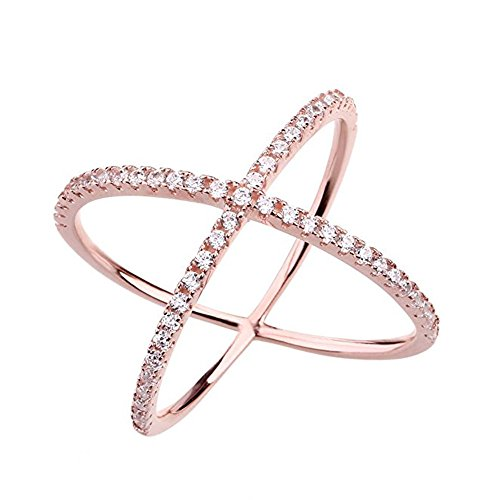 Frauen Criss Kreuz Ring Diamant X Ring Micropave CZ Inlay 14K Rose Vergoldung Größe 54(17.2) (Kreuz Ring Gold)