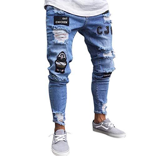 Bold Manner Frestepvie Herren Jeans Skinny Stretch mit Löchern Jeanshosen Used-Look Slim Fit Destroyed Denim Streetwear