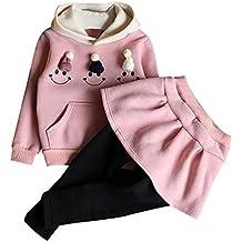 Zarupeng Vestido de las muchachas, 2017 otoño invierno niño niños tela escocesa de punto suéter vestido conjunto de las niñas Niñas Tops + falda conjunto
