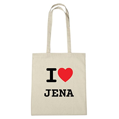 JOllify Jena di cotone felpato B1002 schwarz: New York, London, Paris, Tokyo natur: I love - Ich liebe