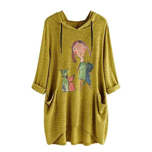 SHOBDW Damen Sommer Herbst süß Karikatur Kitty Drucken Langarm/Kurzarm Hoodie mit Taschen Frauen Stilvoll Elegant Irregular Saum Große Größe Lose Tops Bluse Shirts
