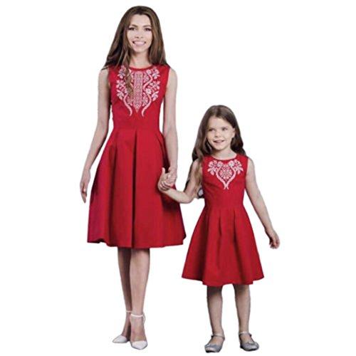 Lady Baby Kostüm Kleine Alte - QinMM Mom & Me Lady Mädchen Blumendruck Sleeveless Blumen Kleid Familie Outfits Kleidung Minikleid Familie Passender Kleidung 24M-6T (5T, Mädchen)