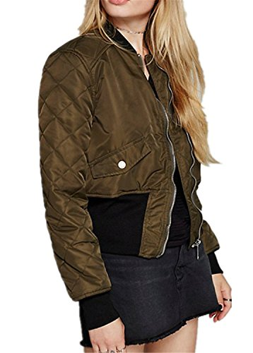 Reißverschluss Vorne Zip Up Quilted Armeegrün Bomberjacke Blouson Aviator Flight Jacket Jacke Oberteil Top