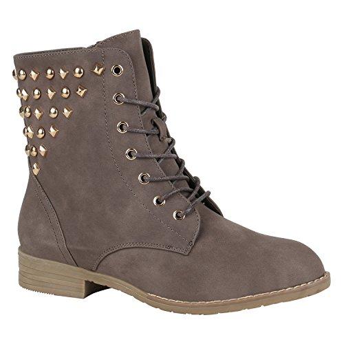 Stiefelparadies Damen Schnürstiefeletten Profilsohle Leder-Optik Stiefeletten Schuhe 148741 Khaki Nieten Carlet 38 Flandell