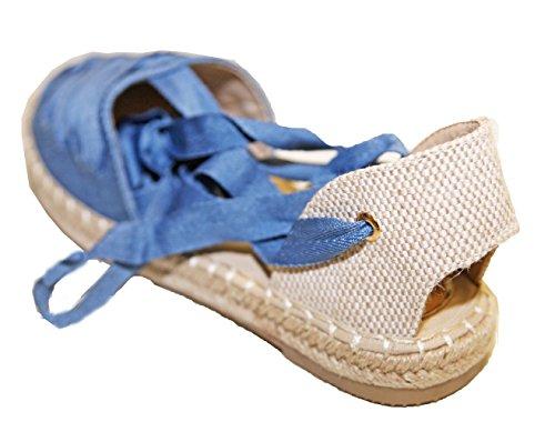 Chaussure Style Espadrille à Lacets Semelle caoutchouc et corde tressée Mode Jeans Bleu