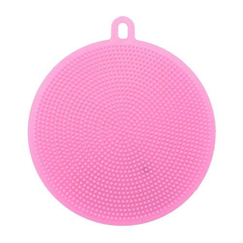 Matefielduk Silikon-Schwamm für die Küche, aus Silikon, runde Schwammbürste, zum Waschen von Geschirr, Reinigung der Küche (10,6 x 1,5 cm) Rosa -
