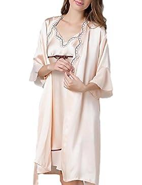 CHUNHUA modo delle donne di imitazione bretelle pigiama di seta di seta della biancheria del merletto (colore...
