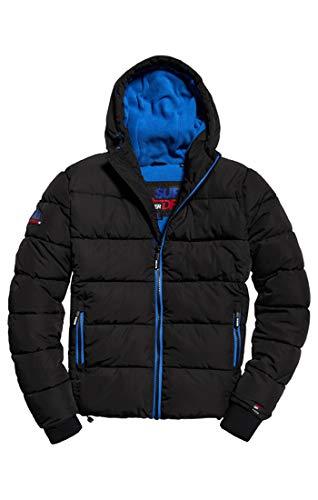Superdry Herren Sportjacke Sports Puffer, Grau (Black/Cobalt Euz), Large