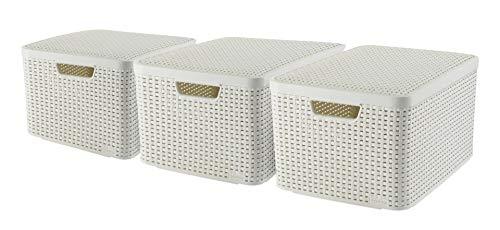 CURVER Style Aufbewahrungsbox-Set, Kunststoff, Creme, 3x30L