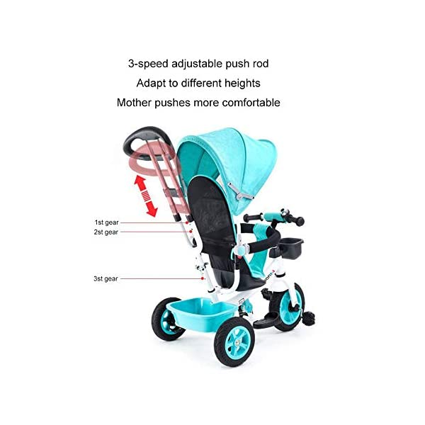 BGHKFF 4 In 1 Children's Hand Push Tricycle 8 Months To 6 Years Adjustable Handle Bar Children's Pedal Tricycle Folding Sun Canopy Blockable Rear Wheels Childrens Tricycles Maximum Weight 90 Kg,Blue BGHKFF ★Material: High carbon steel frame, suitable for children from 8 months to 6 years old, maximum weight 90 kg ★ 4 in 1 multi-function: can be converted into baby strollers and tricycles. Remove the hand putter and awning, and the guardrail as a tricycle. ★Safety design: golden triangle structure, safe and stable; guardrail; rear wheel double brake 7