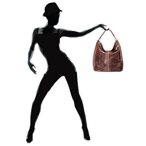 CASPAR Damen Wildleder Tasche / Henkeltasche / Umhängetasche mit Krokoprägung - viele Farben - TL678 braun