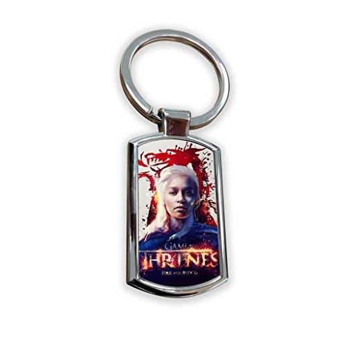 Game of Thrones Fantasy Got Serie TV USA zeigen Schlüsselanhänger Metall Charm Anhänger Schlüssel Ring Schlüsselanhänger Bag Tag Schlüsselanhänger-Daenerys Targaryen Queen Dany stormborn Dragon (100 Schule-poster Tage Der)