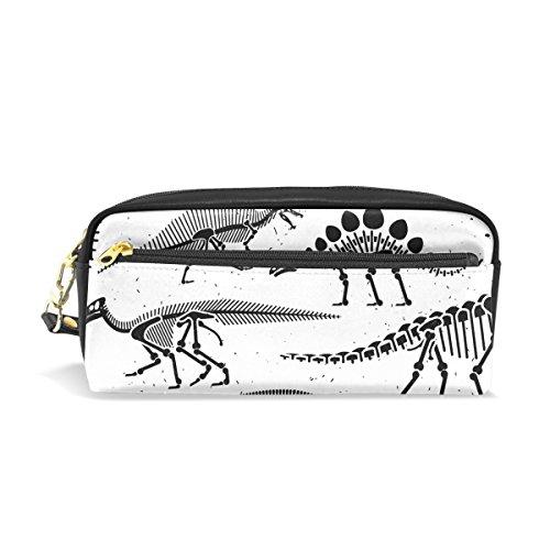 ahomy Dinosaurier Skelett weiß schwarz Stift Pen Fällen Doppelreißverschluss Große Make-up Kosmetik Stationery Tasche für Tasche für Mädchen jungen Frauen