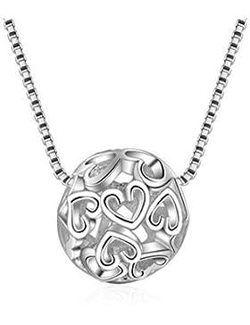 Halskette Damen Mädchen mit Anhänger Sterling Silber 925er Mode Hohle Herz-Form Kugel Y-Kette Kurz Collier