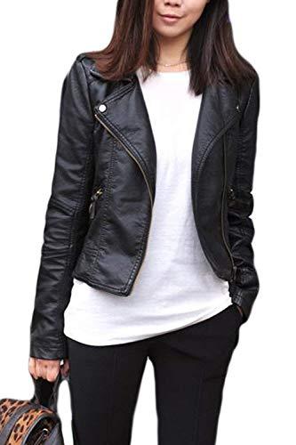 Jacken Damen Große Größen Fashion Normallacks Langarm mit Zipper Lederjacke Marken Slim Fit Vintage Casual Kurzes Kunstlederjacke Bikerjacke