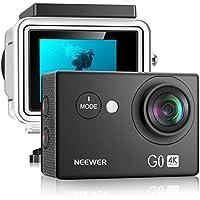 Neewer G0 HD 4 K Aktion Kamera 12MP, 98 ft Unterwasser Wasserdichte Kamera: 170 Grad Weitwinkel WiFi Sport Cam mit 2-Zoll-Bildschirm, Batterie und Montage Zubehör Set (Schwarz)