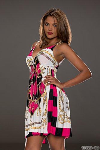 4360 Fashion4Young mini robe à bretelles pour femme avec col v profond robe verfüg.in 5 coloris disponibles taille 34/36 - Pink Multicolor