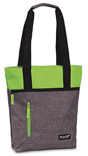 Tasche Shopper Tragetasche Umhängetasche auch Zusatztasche für Punta-Einkaufstrolley Melange Farben Grau meliert mit Limette