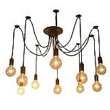 Cozyle Luz de techo colgante retro Lámpara de araña 1-9 Bombillas Heads 10 Jefes