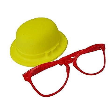 AEC - AC1801 - Set clown adulte chapeau melon et grosses lunettes plastique