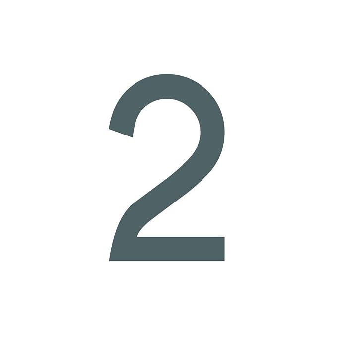 Zahlenaufkleber Nummer 2, weiß, 10cm (100mm) hoch, Aufkleber mit ...