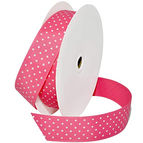 Morex Ribbon 3906 Grosgrain Swiss Dot Band, 100% Polyester, rose, 7/8 inch x 20 yards Floral Swiss Dot