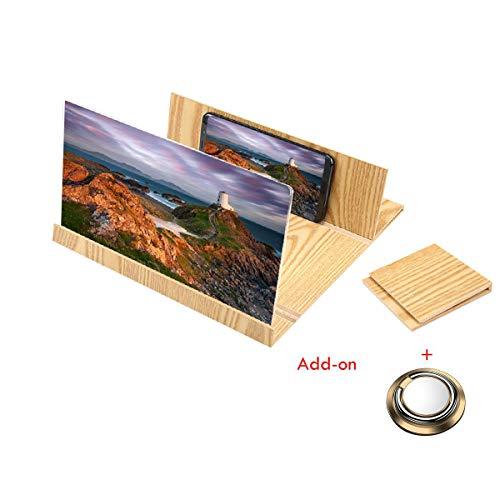 KOBWA 3D-Handy-Bildschirm-Vergrösserungslupe 12 Zoll, Smartphone Lupe 3D Bildschirm Verstärker, Stereoskopische Zusammenklappbar Vergrößern Ständer Handy Projektor für iPhone/Samsung Andere Android - 3d Samsung Projektor
