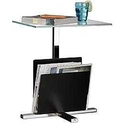 Relaxdays Beistelltisch mit Zeitungsständer, Metall, Glas Couchtisch, Zeitungsablage, HxBxT: 53 x 46 x 36 cm, schwarz