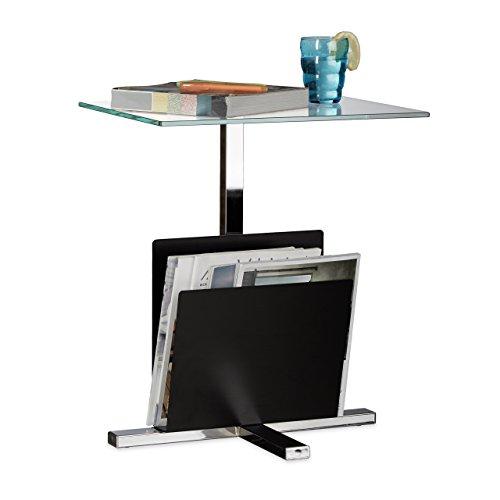 Relaxdays Table d'appoint avec porte-revues plateau en verre métal design moderne table basse HxlxP: 53 x 46 x 36 cm, noir