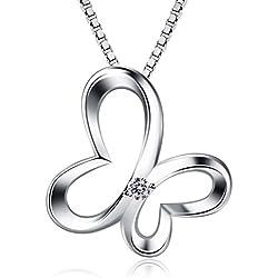 B.Catcher Kette Damen Halskette Anhänger 925 Silber Schmetterling Traum Schmuck 45CM Kettenlänge Weihnachtengeschenk für Damen