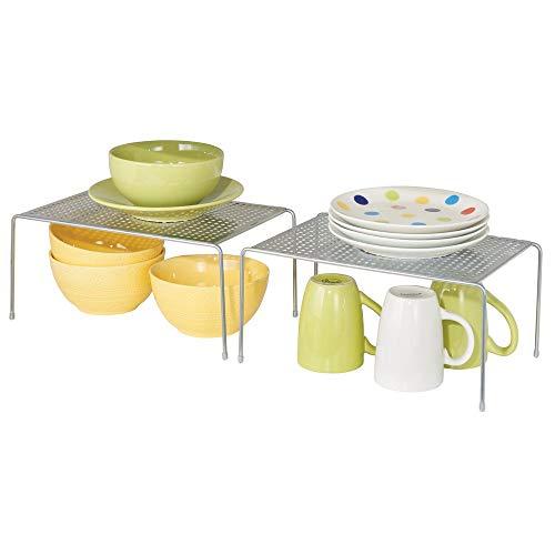 mDesign Juego de 2 estantes de cocina – Soportes para platos individuales...