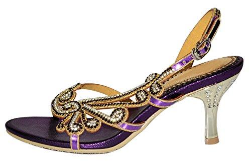 Honeystore Damen's Schaffell Strasss Handgemacht Stilett Sandalen Violett