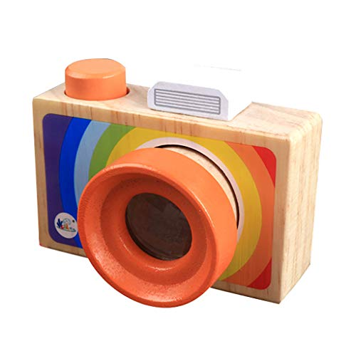 Webla - süße hölzerne Spielzeugkamera, natürliche sichere Holzkamera, geeignet für Kinder/Kinder, als Weihnachtskinderzimmer Dekor Holz (A)