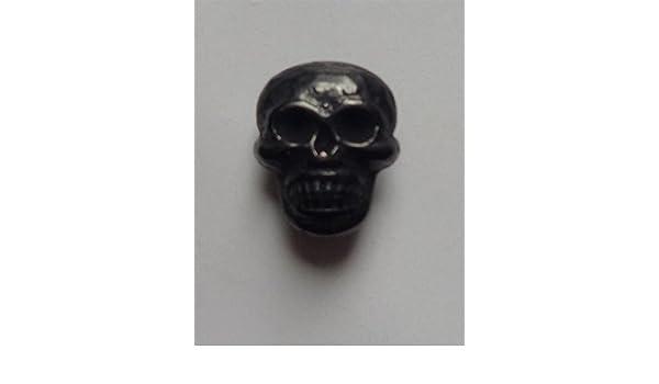 1 Bouton 18 mm métal tête de mort avec œillet Noir