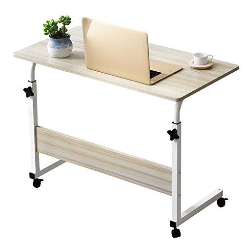 Rabbfay Betttisch Mit 4-Gang-Höhenverstellung, Movable Nachttisch Computertisch, Sofa, Tisch Mit 4 Rädern Für Krankenhaus- Und Heimgebrauch,Maple