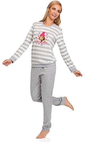 Cornette Damen Schlafanzug 671 2016 Weiß/Melange(Play With Me)