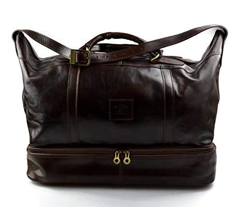 cabc136a05 Borsone pelle bagaglio a mano borsa viaggio con manici e tracolla vera pelle  testa moro borsone ...