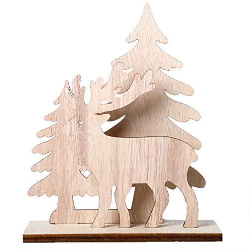 Joyibay Weihnachtsschreibtisch Verzierung DIY Elch Schneemann Sankt Holz Tabellen Verzierungs Weihnachtsverzierung