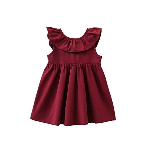 JERFER Backless Solide Casual Dress Kleinkind Infant Kinder Baby Mädchen Rüschen Kleid Kleidung
