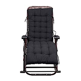 CTlite Coussins de chaise longue à dossier haut pour chaise longue et chaise longue (noir)