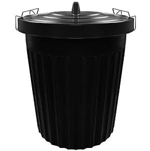 Poubelle de jardin en plastique noir. 100L. Avec poignées refermables