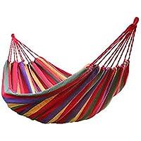 Hamacas de algodón al aire libre una persona portátil compacta Hamaca de viaje de viaje con cuerdas de árboles y bolsa de transporte para Patio Jardín Playa Beach 200 * 80 cm