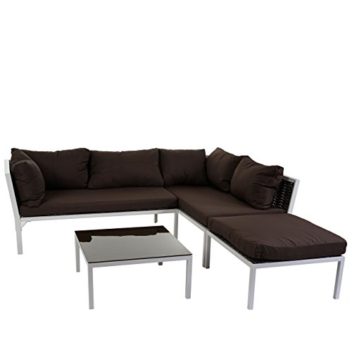 Poly-Rattan Sofa-Garnitur Delphi, Sitzgruppe Lounge-Set, Stahl ~ Set 1, Kissen braun
