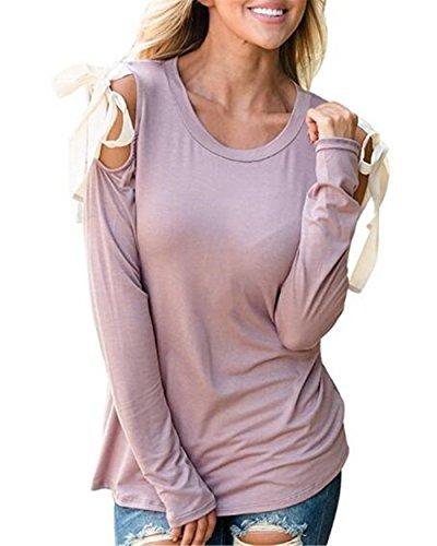 AILIENT Donna Elegante Maglietta Maglie Girocollo Manica Lunga Maniche Maglia Camicie T Shirt Senza Spalline Allentato Blouse Tops Lotus root starch