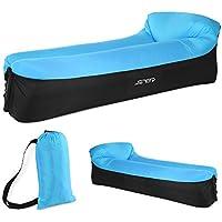JSVER Sofá Inflable Aire del ocioso con el Paquete Portable para Viajar, Acampar, Senderismo, Piscina y Partidos de la Playa(Negro & Azul)