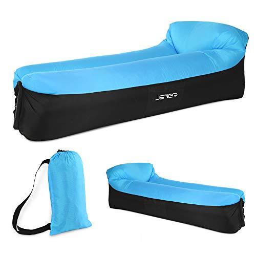 JSVER wasserdichtes aufblasbares Sofa, Luft sofa,Luftmatratzen,Luft couch, mit integriertem Kissen, tragbares aufblasbares Sofa, aufblasbares Outdoor-Sofa fuer Park,Camping (Blau Schwarz)