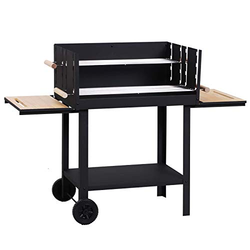 Outsunny Charcoal BBQ Barbecue Trolley Patio Outdoor Garden Heat Smoker 2 Grill Net with Wheels, Black