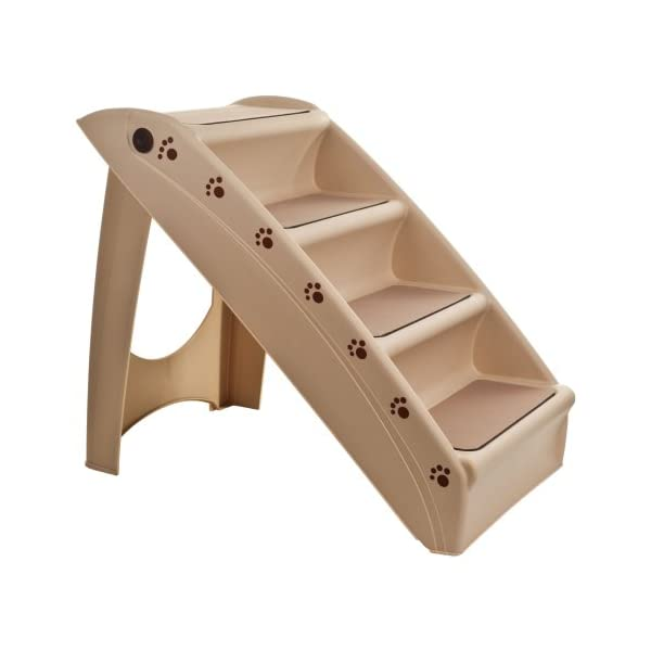 PETMAKER 82-YJ5131 Folding Plastic Pet Stairs Durable Indoor or Outdoor 4  Step Design With Built-in Safety Features For Dogs Cats Home Travel by - TAN