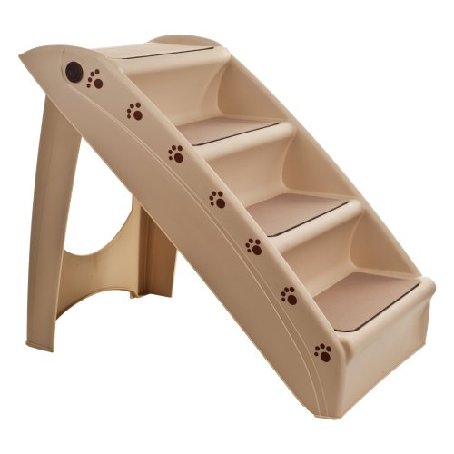 PETMAKER  82-YJ5131 Folding Plastic Pet Stairs Durable Indoor or Outdoor 4 Step Design With Built-in Safety Features For Dogs Cats Home Travel by – TAN